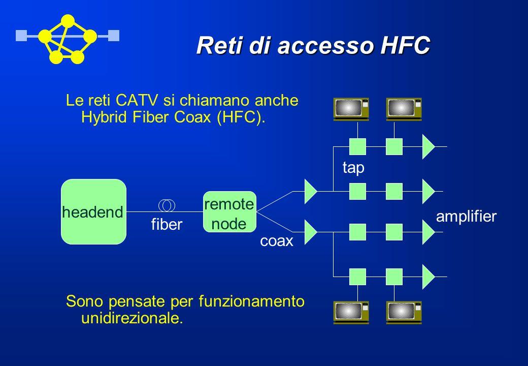 Reti di accesso HFC Le reti CATV si chiamano anche Hybrid Fiber Coax (HFC). headend. remote. node.