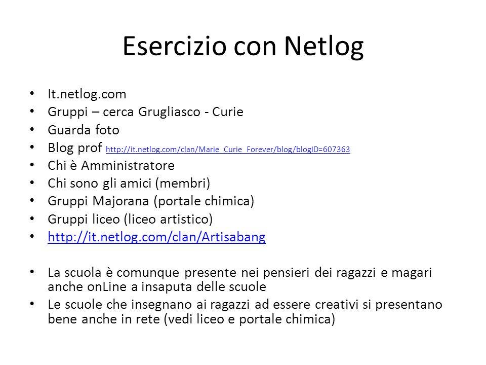 Esercizio con Netlog It.netlog.com Gruppi – cerca Grugliasco - Curie