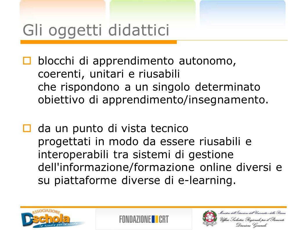 Gli oggetti didattici blocchi di apprendimento autonomo, coerenti, unitari e riusabili.