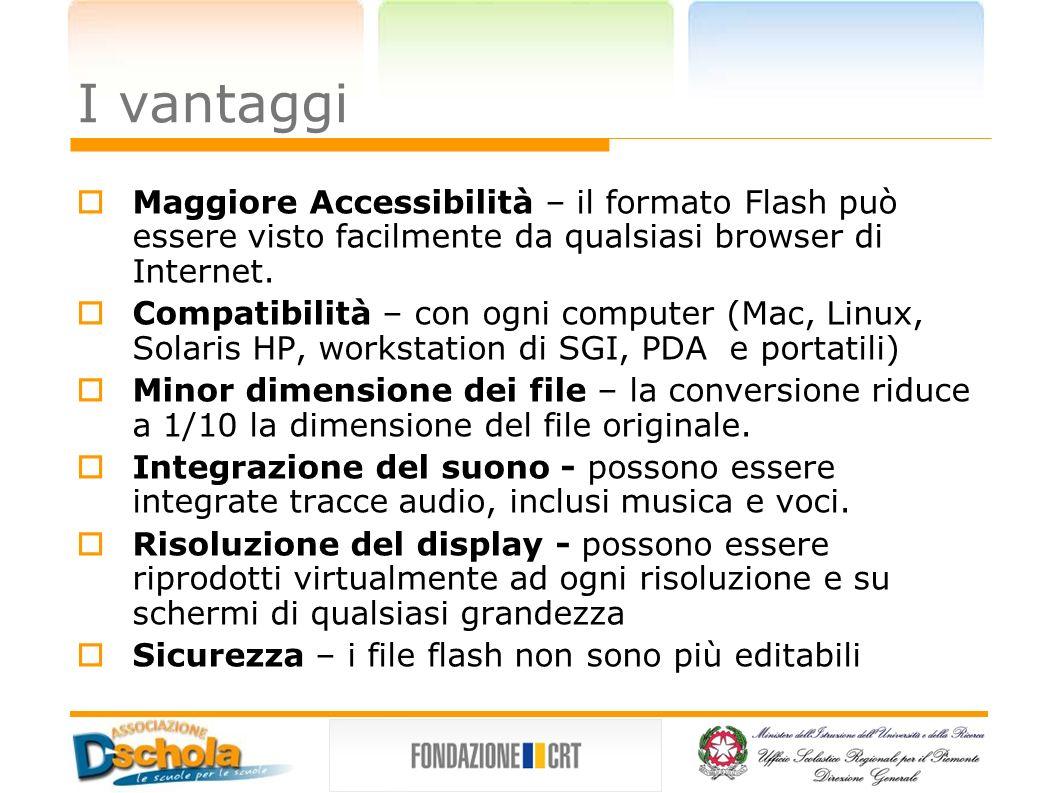 I vantaggi Maggiore Accessibilità – il formato Flash può essere visto facilmente da qualsiasi browser di Internet.