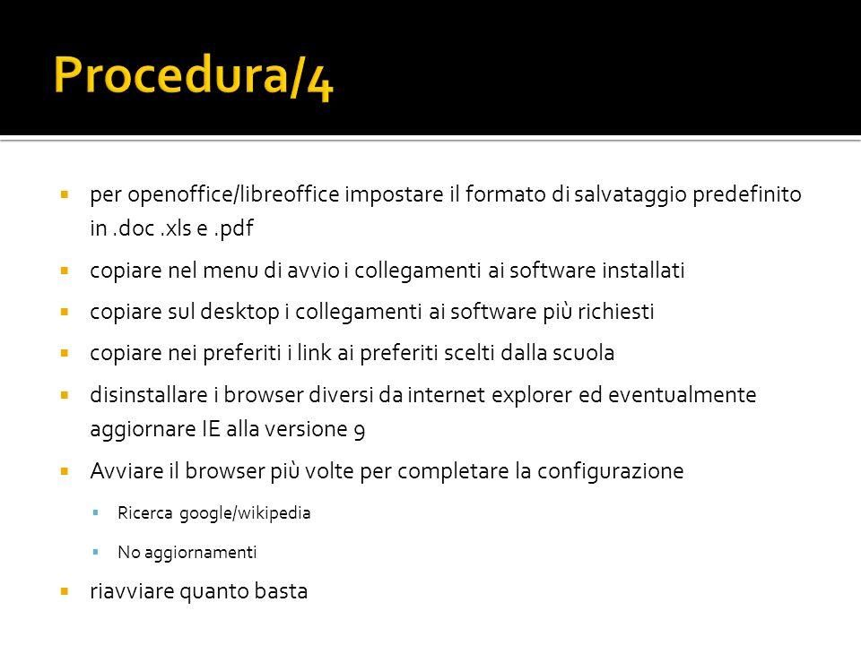 Procedura/4per openoffice/libreoffice impostare il formato di salvataggio predefinito in .doc .xls e .pdf.