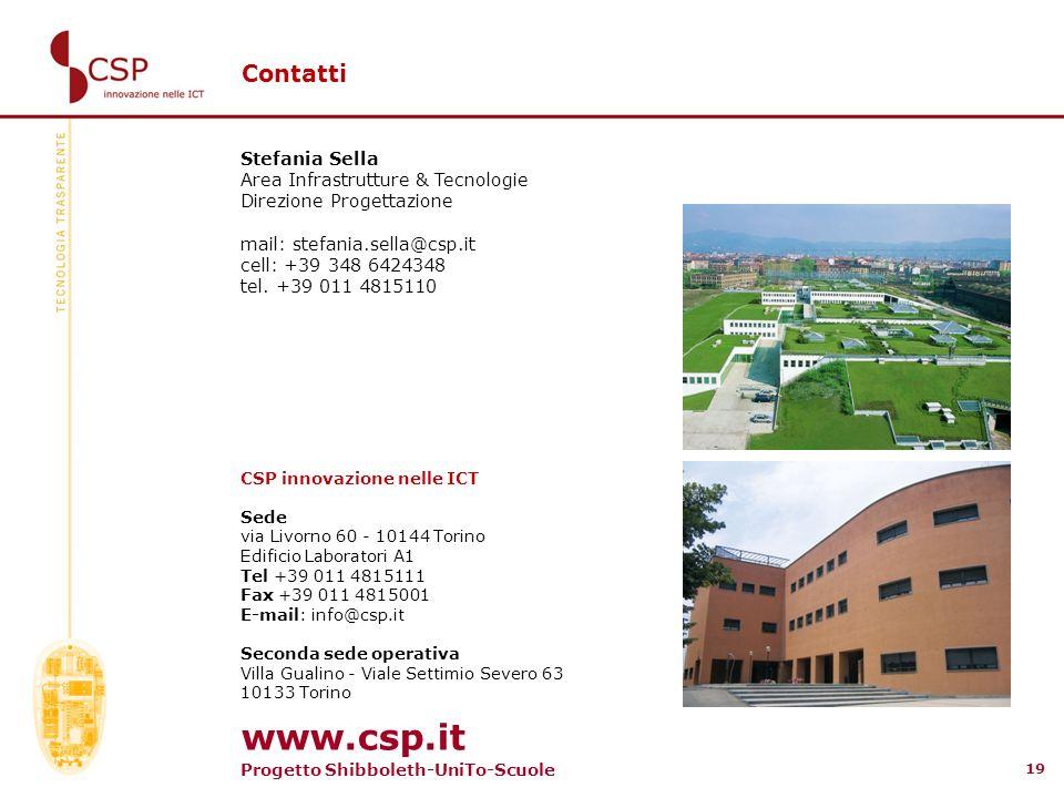 www.csp.it Contatti Stefania Sella Area Infrastrutture & Tecnologie