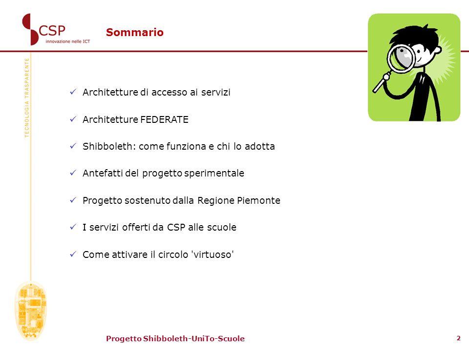 Sommario Architetture di accesso ai servizi Architetture FEDERATE