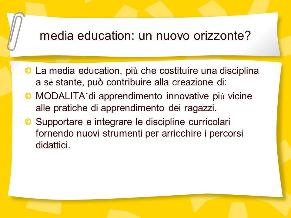 media education: un nuovo orizzonte