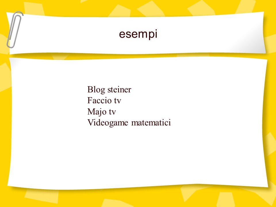 esempi Blog steiner Faccio tv Majo tv Videogame matematici