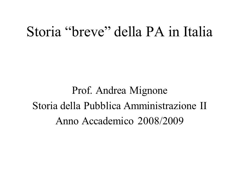 Storia breve della PA in Italia
