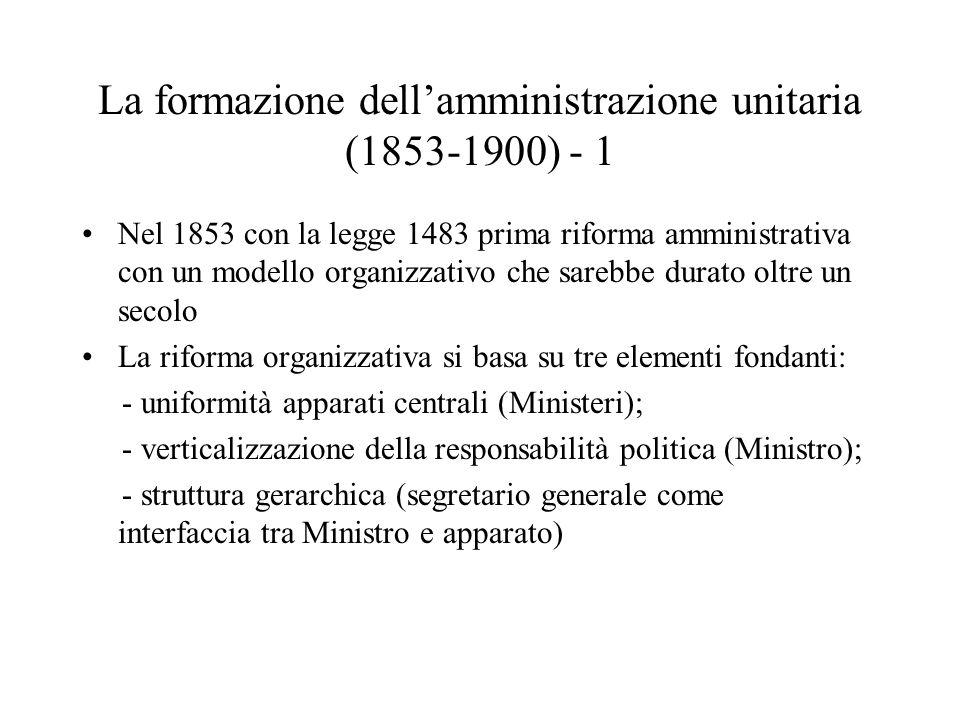 La formazione dell'amministrazione unitaria (1853-1900) - 1