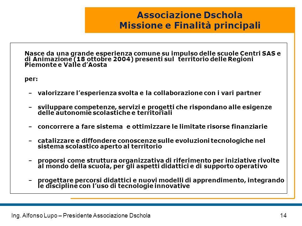 Associazione Dschola Missione e Finalità principali