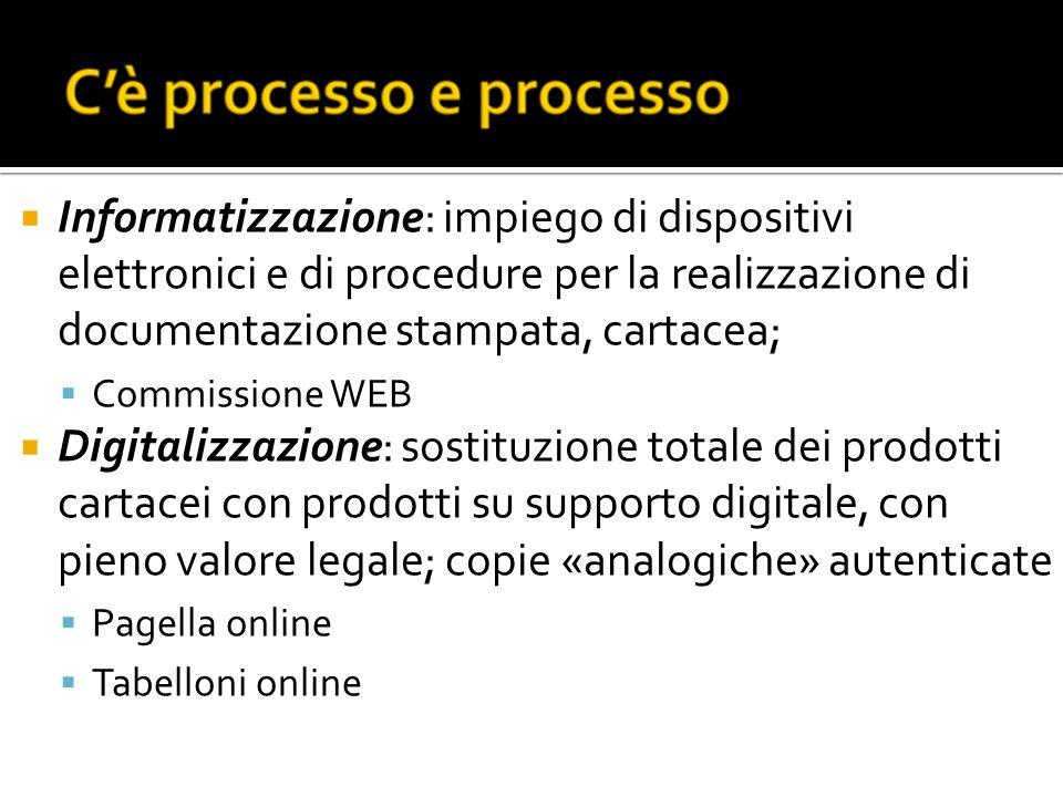 Informatizzazione: impiego di dispositivi elettronici e di procedure per la realizzazione di documentazione stampata, cartacea;