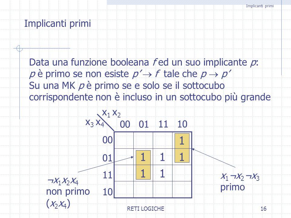 Implicanti primi Implicanti primi. Data una funzione booleana f ed un suo implicante p: p è primo se non esiste p' ® f tale che p ® p'