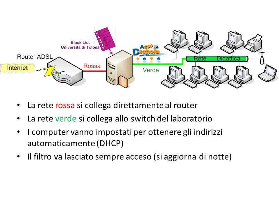 La rete rossa si collega direttamente al router