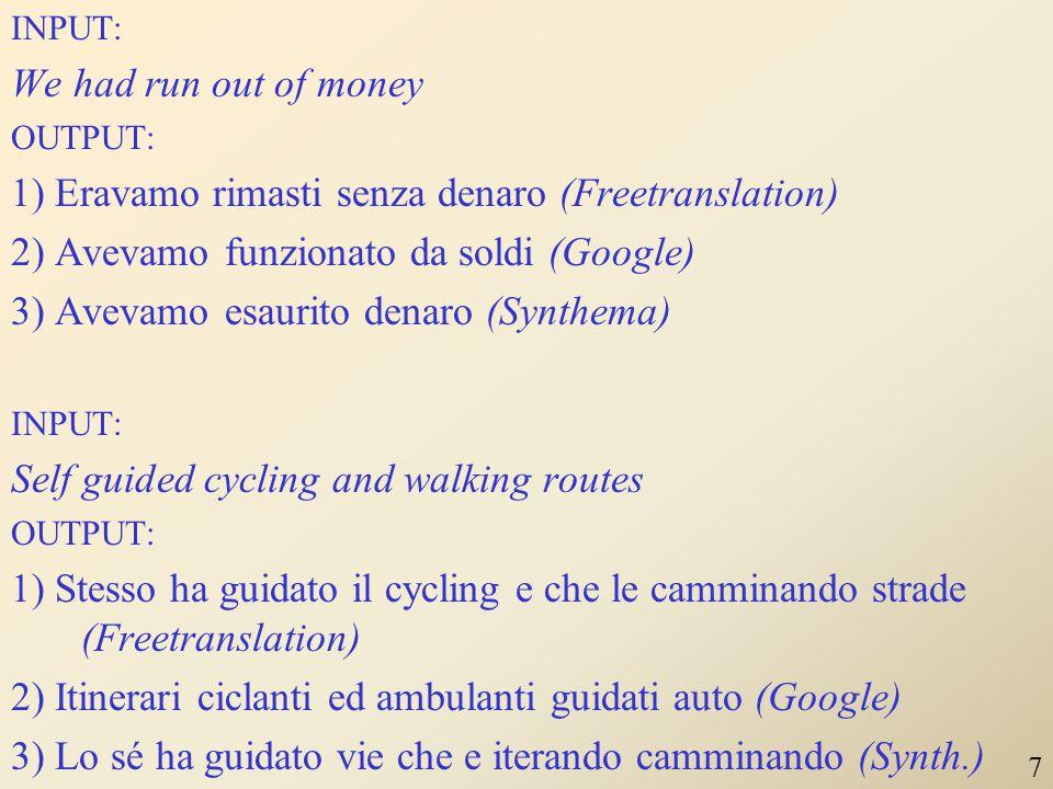 1) Eravamo rimasti senza denaro (Freetranslation)