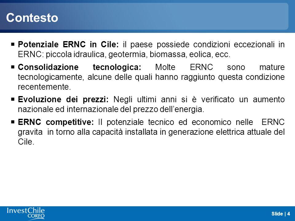 Contesto Potenziale ERNC in Cile: il paese possiede condizioni eccezionali in ERNC: piccola idraulica, geotermia, biomassa, eolica, ecc.