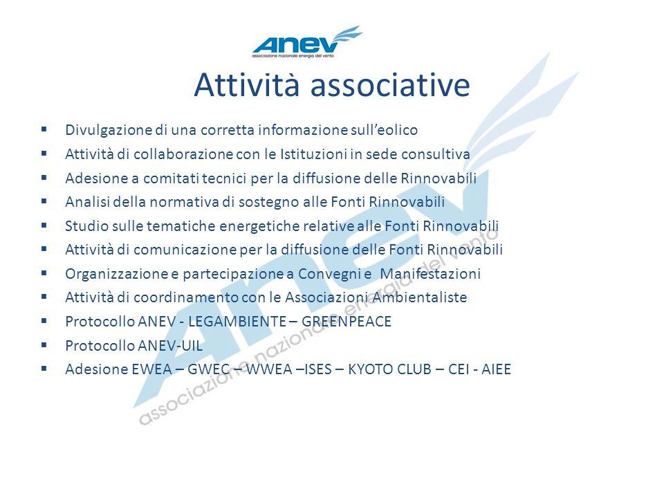Attività associative Divulgazione di una corretta informazione sull'eolico. Attività di collaborazione con le Istituzioni in sede consultiva.