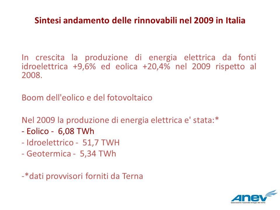 Sintesi andamento delle rinnovabili nel 2009 in Italia