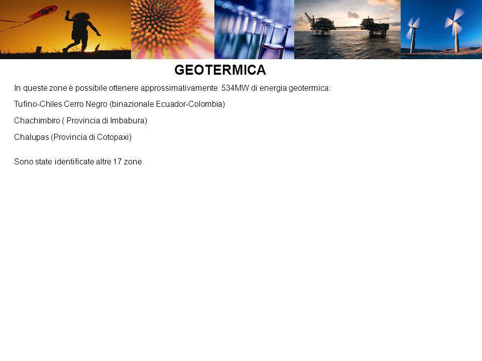 GEOTERMICA In queste zone è possibile ottenere approssimativamente 534MW di energia geotermica: