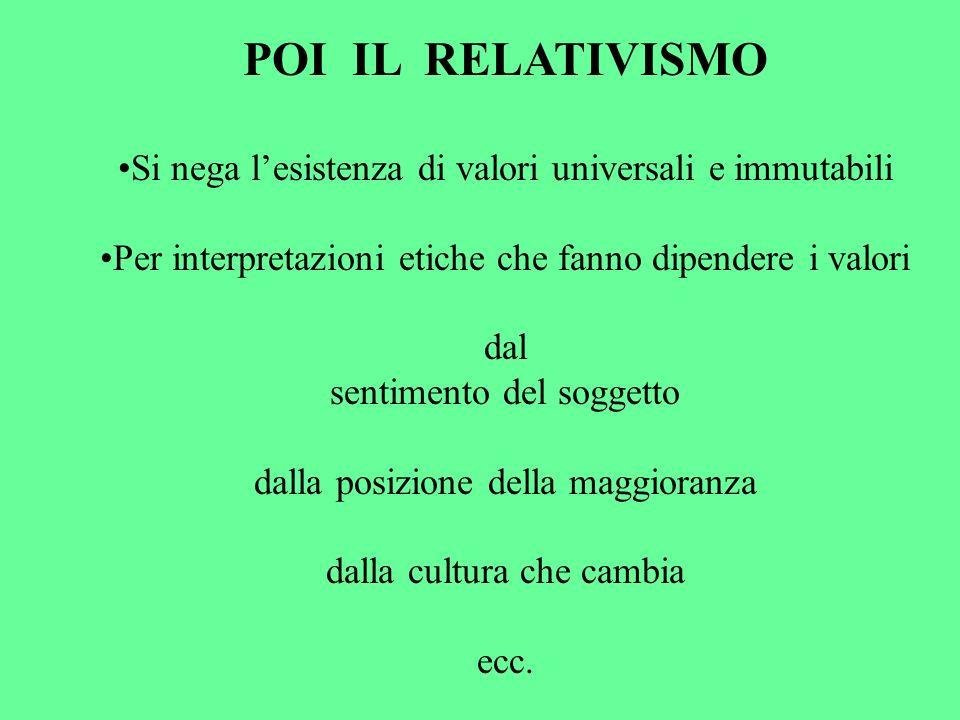 POI IL RELATIVISMO Si nega l'esistenza di valori universali e immutabili. Per interpretazioni etiche che fanno dipendere i valori.