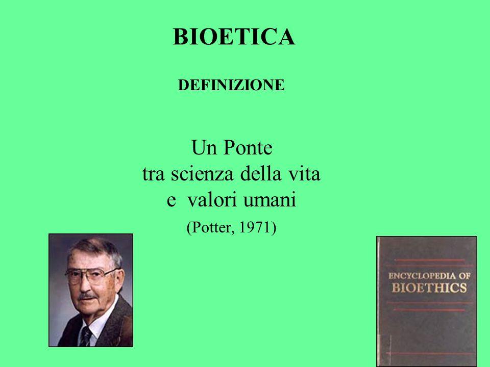 BIOETICA Un Ponte tra scienza della vita e valori umani DEFINIZIONE