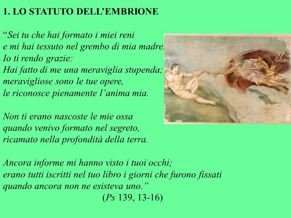 1. LO STATUTO DELL'EMBRIONE