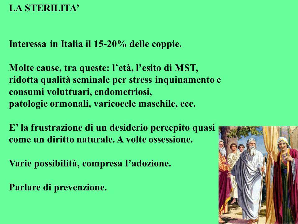 LA STERILITA' Interessa in Italia il 15-20% delle coppie. Molte cause, tra queste: l'età, l'esito di MST,
