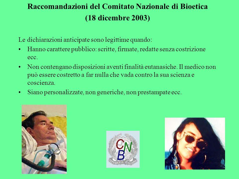 Raccomandazioni del Comitato Nazionale di Bioetica
