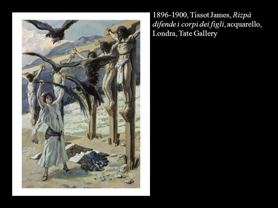 1896-1900, Tissot James, Rizpà difende i corpi dei figli, acquarello, Londra, Tate Gallery