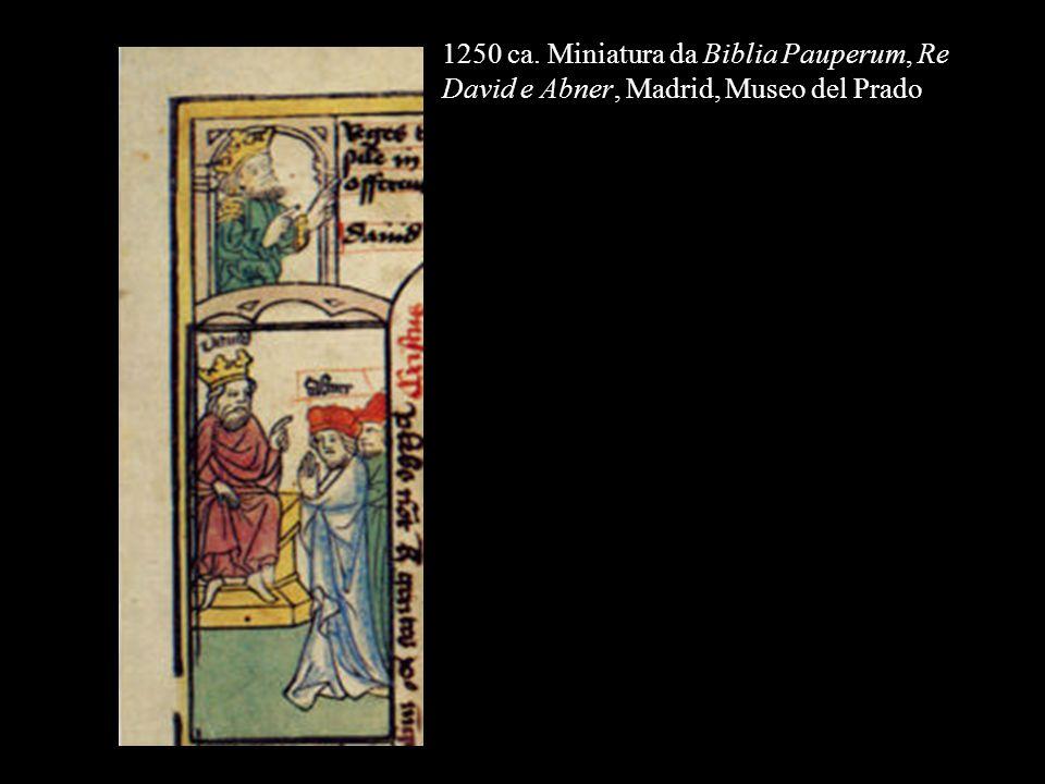 1250 ca. Miniatura da Biblia Pauperum, Re David e Abner, Madrid, Museo del Prado