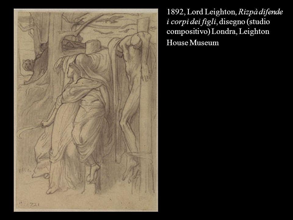 1892, Lord Leighton, Rizpà difende i corpi dei figli, disegno (studio compositivo) Londra, Leighton House Museum