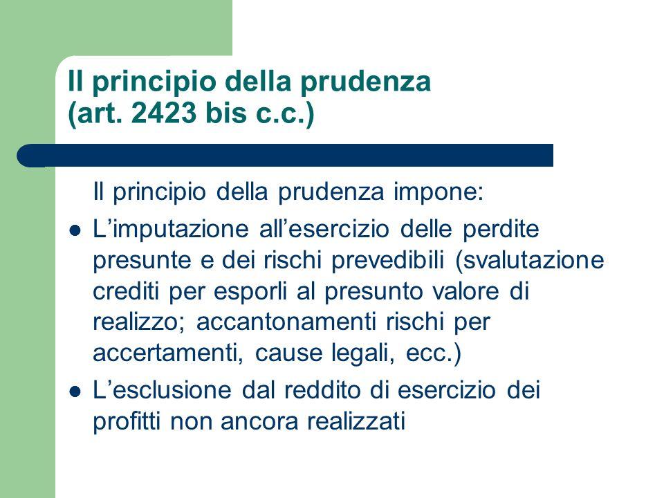 Il principio della prudenza (art. 2423 bis c.c.)