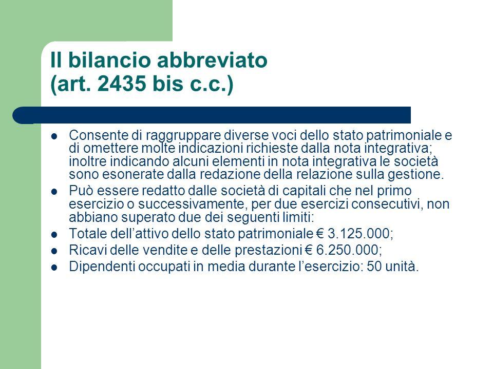 Il bilancio abbreviato (art. 2435 bis c.c.)