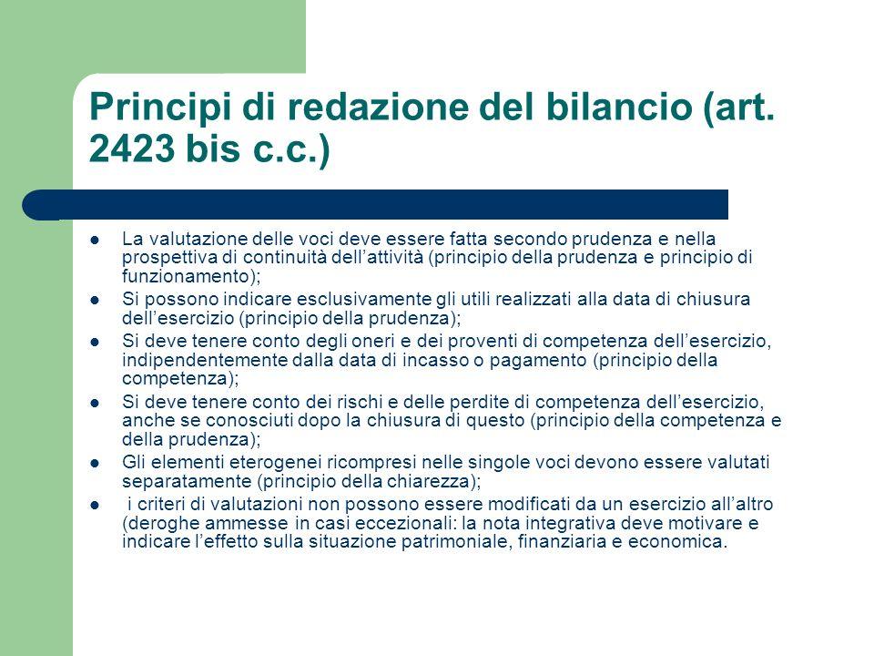 Principi di redazione del bilancio (art. 2423 bis c.c.)