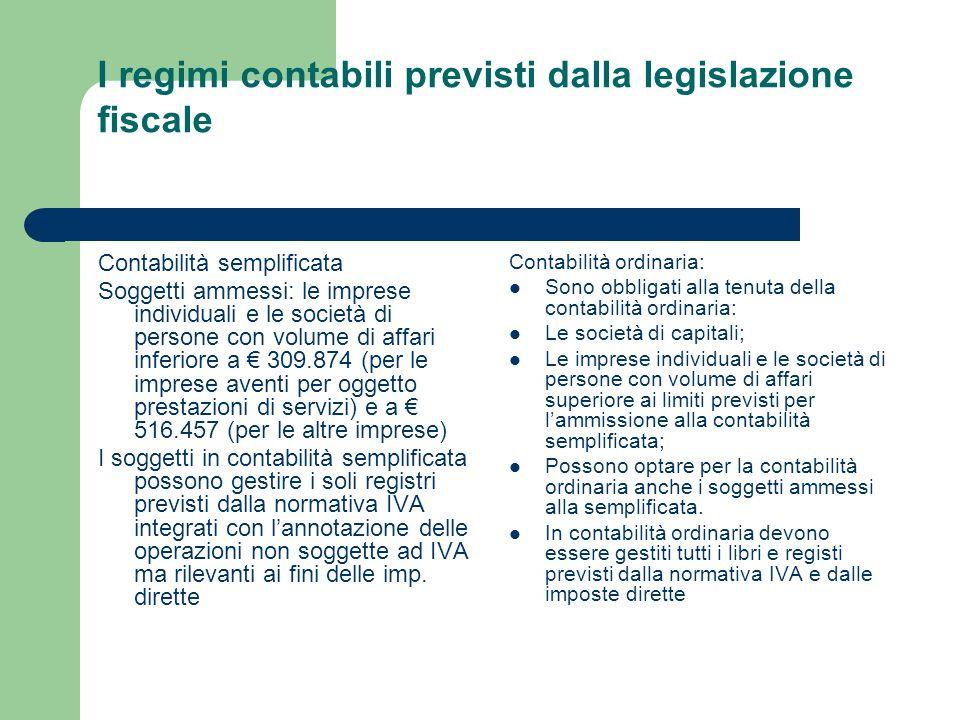 I regimi contabili previsti dalla legislazione fiscale