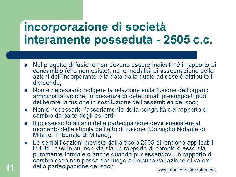 incorporazione di società interamente posseduta - 2505 c.c.