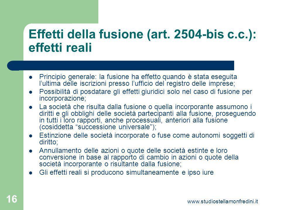 Effetti della fusione (art. 2504-bis c.c.): effetti reali