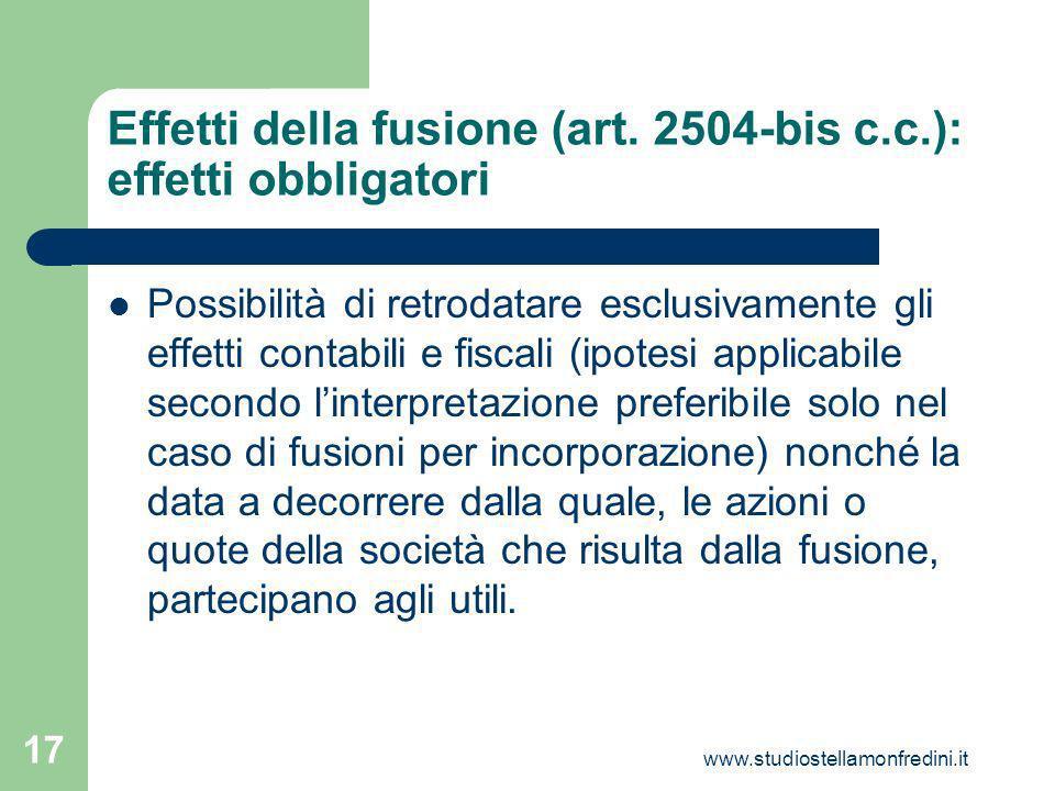 Effetti della fusione (art. 2504-bis c.c.): effetti obbligatori