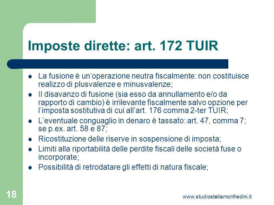 Imposte dirette: art. 172 TUIR