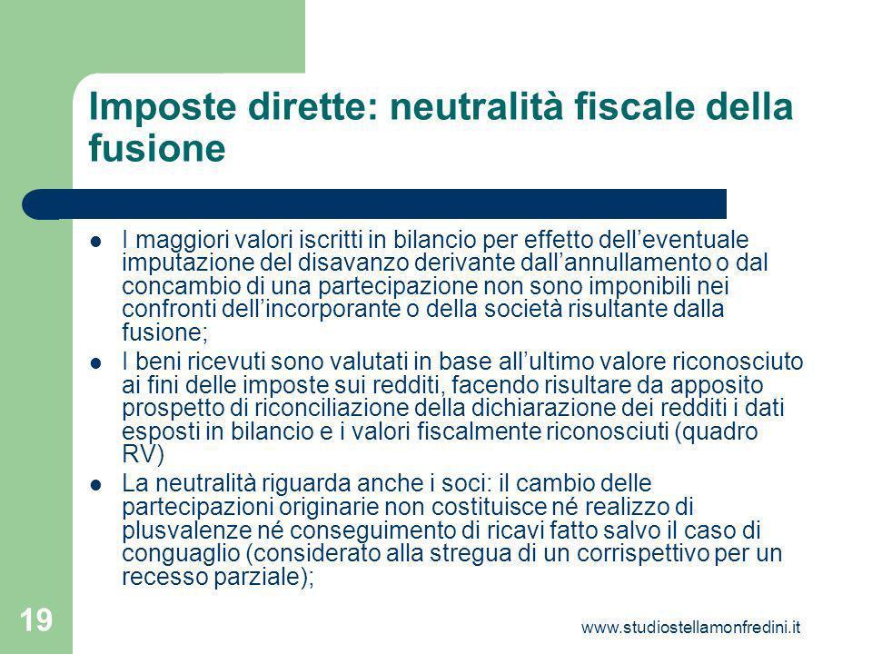 Imposte dirette: neutralità fiscale della fusione