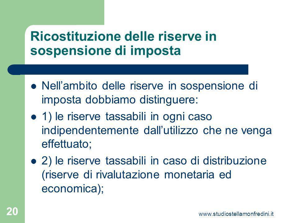 Ricostituzione delle riserve in sospensione di imposta