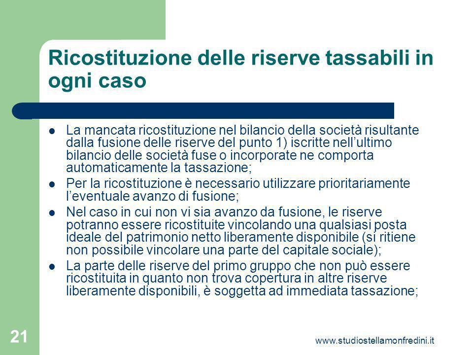 Ricostituzione delle riserve tassabili in ogni caso