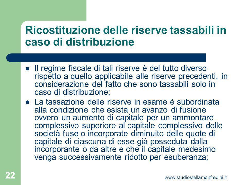 Ricostituzione delle riserve tassabili in caso di distribuzione
