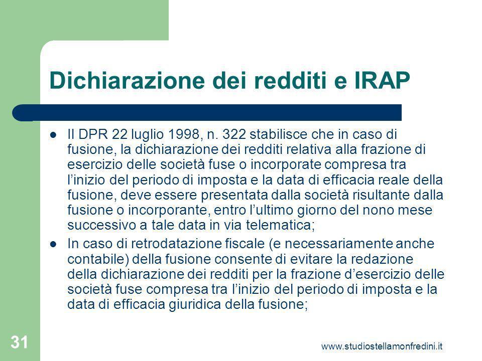 Dichiarazione dei redditi e IRAP