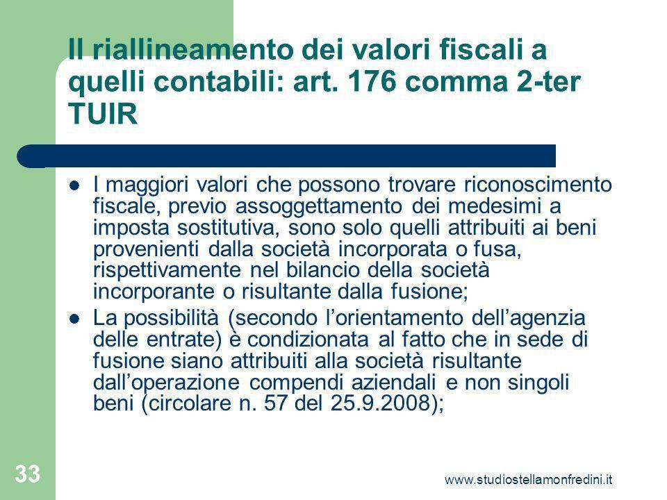 Il riallineamento dei valori fiscali a quelli contabili: art