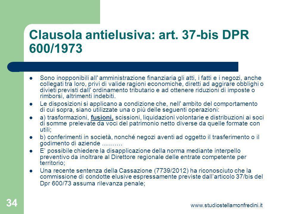 Clausola antielusiva: art. 37-bis DPR 600/1973
