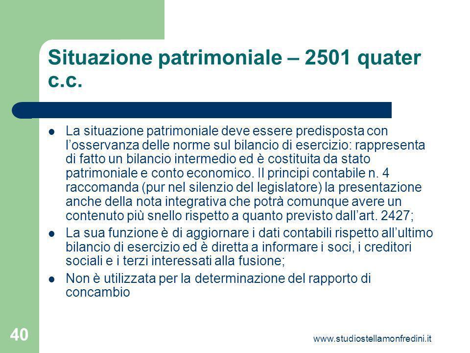 Situazione patrimoniale – 2501 quater c.c.