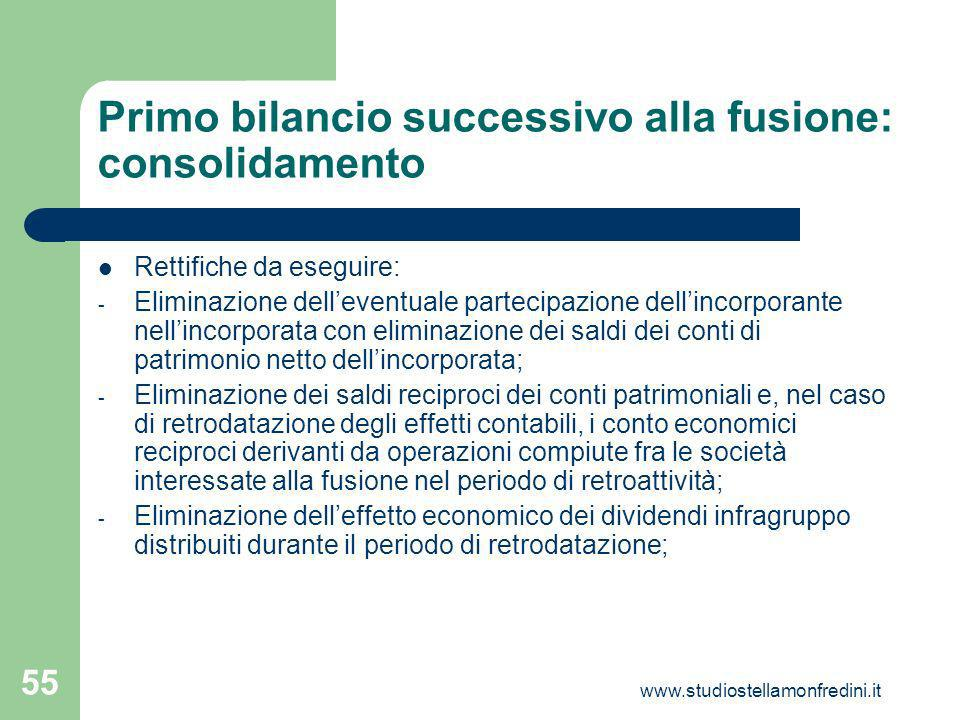 Primo bilancio successivo alla fusione: consolidamento