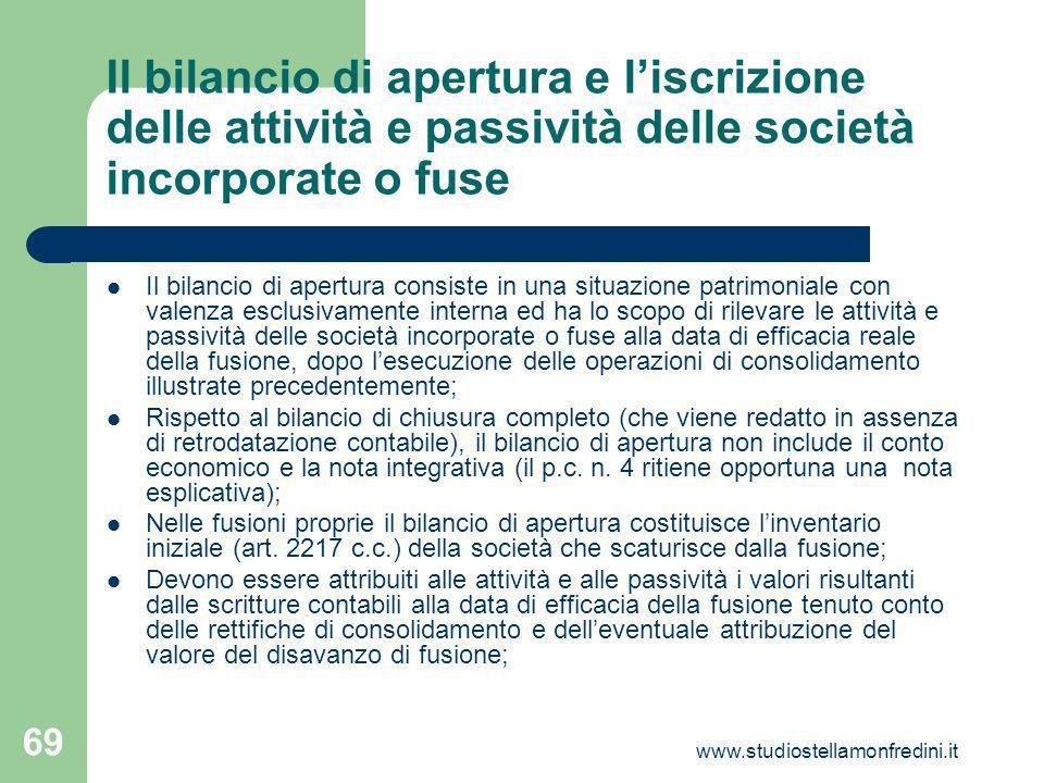 Il bilancio di apertura e l'iscrizione delle attività e passività delle società incorporate o fuse