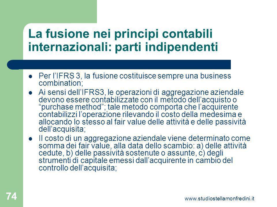 La fusione nei principi contabili internazionali: parti indipendenti