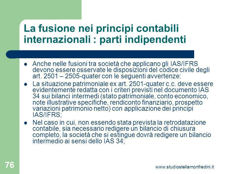 La fusione nei principi contabili internazionali : parti indipendenti
