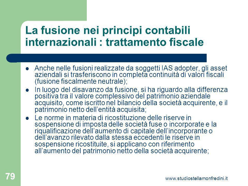 La fusione nei principi contabili internazionali : trattamento fiscale