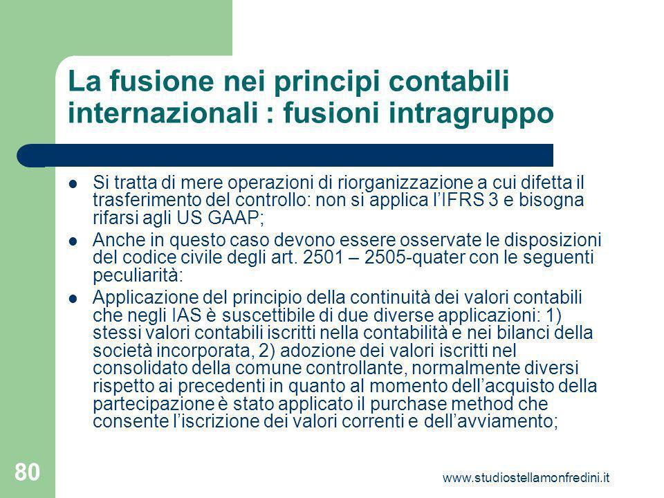 La fusione nei principi contabili internazionali : fusioni intragruppo